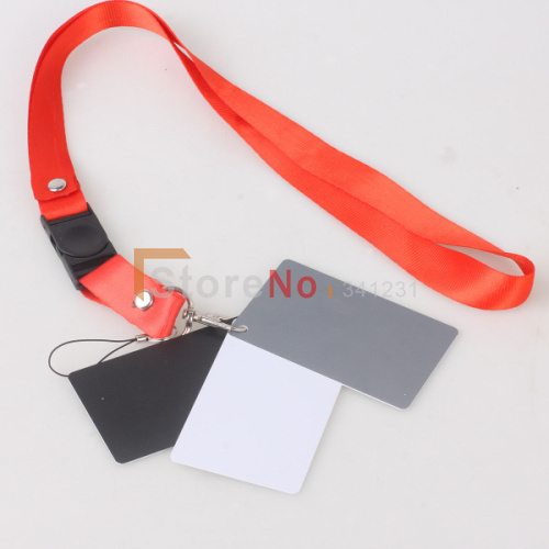 91743085c 10 PCS 3 in1 Cinza Digital Branco Preto Cinza 18% Color Balance Branco  Exposição Do Cartão + Strap 8.5 cm   5.4 cm tamanho