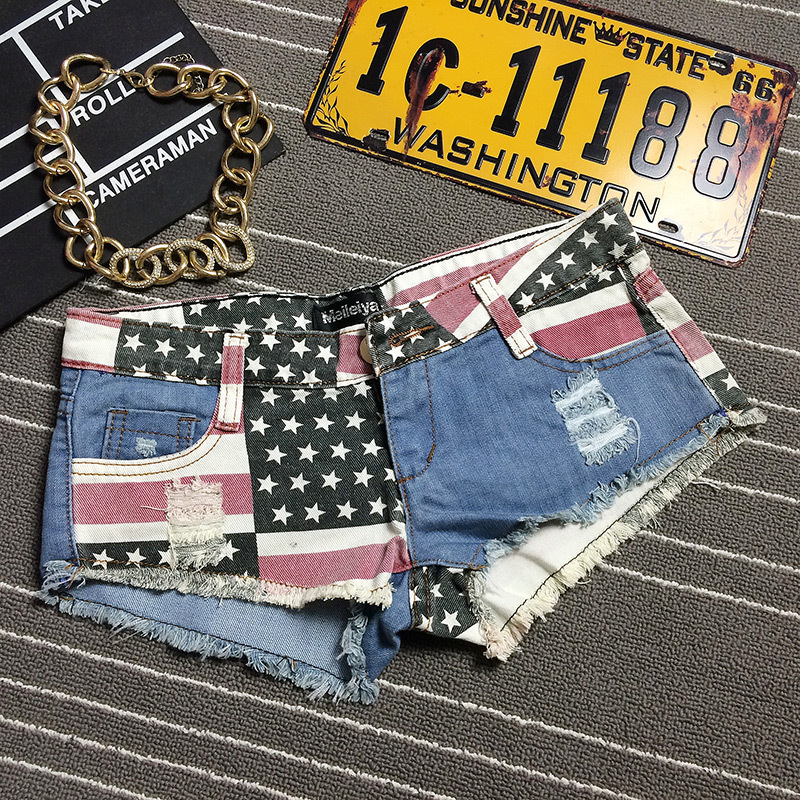 7b8ae14b0d0b0 2017 Letnie Spodenki Jeansowe Szorty Damskie Vintage Club Sexy Hip Hop  American flag Patch Plus Size Zgrywanie Spodenki pantalones vaqueros