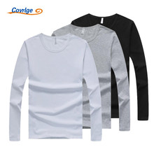 Covrlge 3 Pieces/lot Men T-shirt Long Sleeves Undershirt Male Solid Cotton Mens Tee Spring Brand Clothing Shirt Homme MTL073