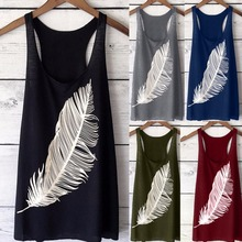 Hot Sale Women Feather Print Sleeveless Tank Top Long Summer Ladies Solid Causal Tshirt Plue size