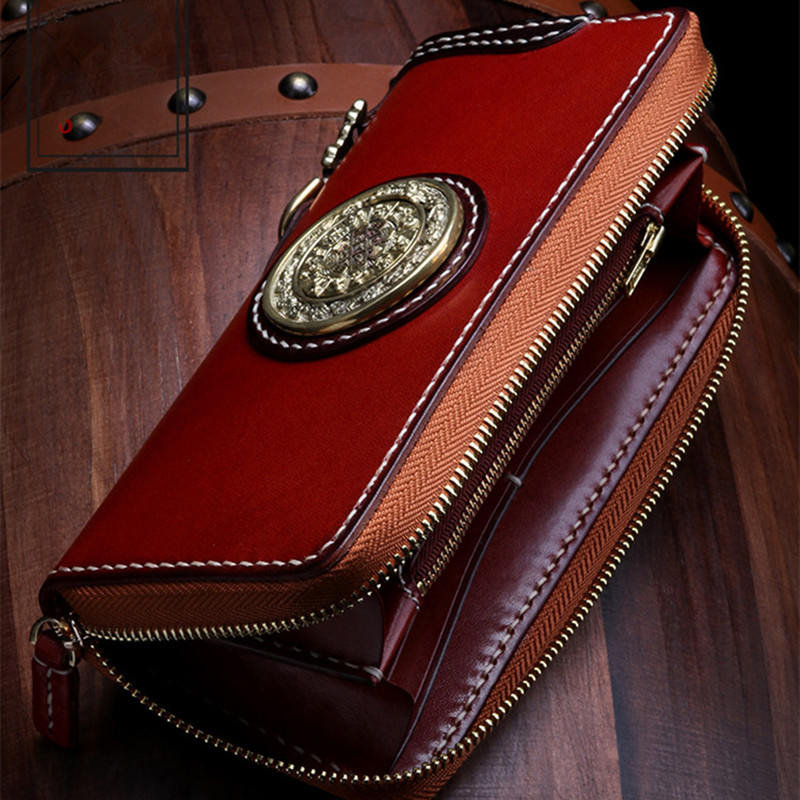 Cheap Cheap Cow Leather Wallets Nine Palace Cards Pure Copper Bag Purses Women Men Long Clutch Vegetable Tanned Leather Wallet