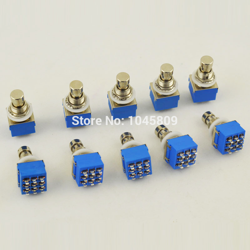 10 X 3PDT 9-PIN Efectos de guitarra Stomp Switch Pedal Box Foot Metal True Bypass Envío Gratis