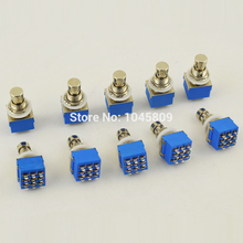 10 X 3PDT 9-PIN Guitar Effects Stomp Switch Pedal Box Foot Metal True Bypass Free Shipping cheap landtone blue guitar effect pedal 3PDT foot switch 10pcs lot Dutch postal packet Swedish postal parcel