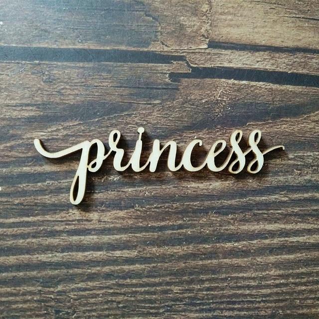 10pcs princess script word wood sign laser cut wooden signs cursive