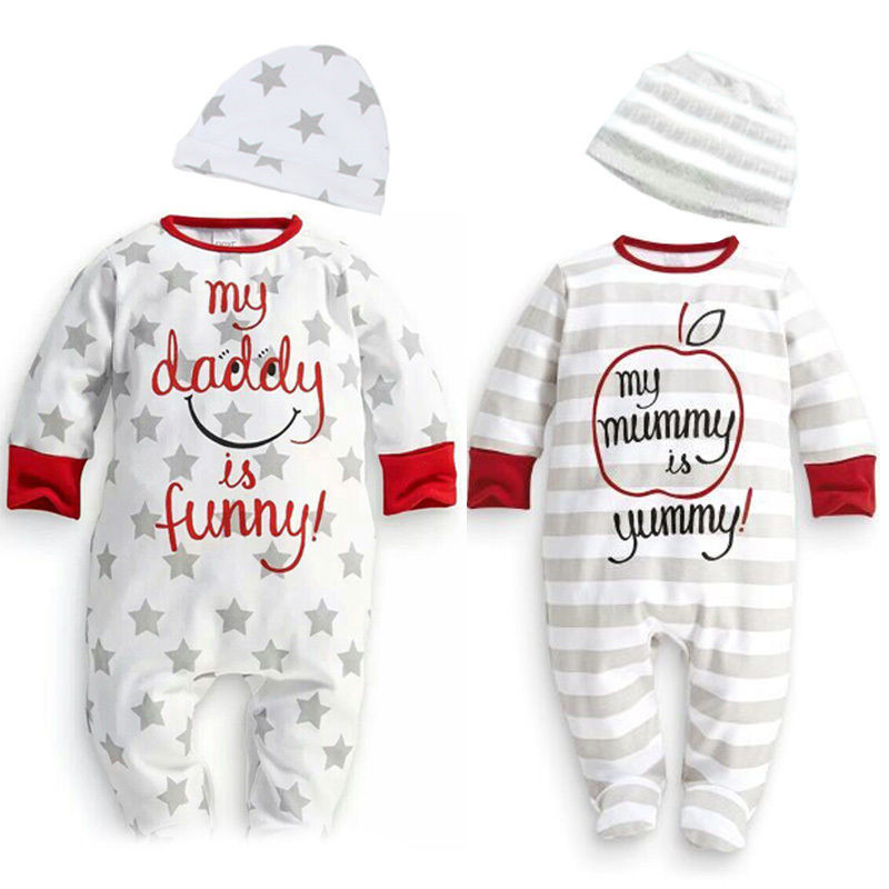 Hot Newborn Infant Baby Boy Girl Clothing Long Sleeve Mum Dad Star Funny Autumn Spring Romper Hat Sleepsuit Outfits Set 0-18M free shipping new 2017 spring autumn baby clothing infant set gift baby jumpsuits newborn romper 4pcs set 2pcs romper hat bib