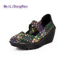2017 Summer Women Platform Sandals Shoes Ladies Woven Shoes Flat Shoes Flip Flops Multi Colors Casual Shoes