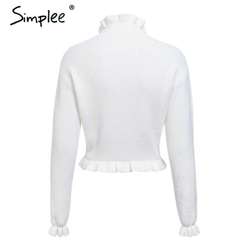 Женский вязаный свитер Simplee с рюшами, пуловер с рукавами-бабочками, облегающий уличный джемпер, топ с баской для зимы