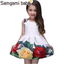 SAMGAMI BABY 2018 Summer Girls Dress White Designer Brand New Children Clothing Rose Flower Princess Wedding Party Girl Dress