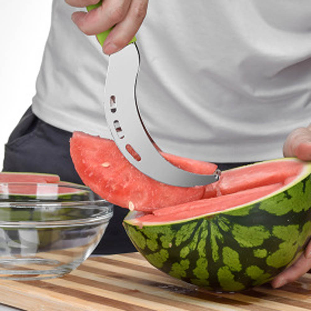 New 1 PCS party supply Stainless Steel Cut Fruit Watermelon Cutter Fast Slicer Smart Kitchen Cutting Tool