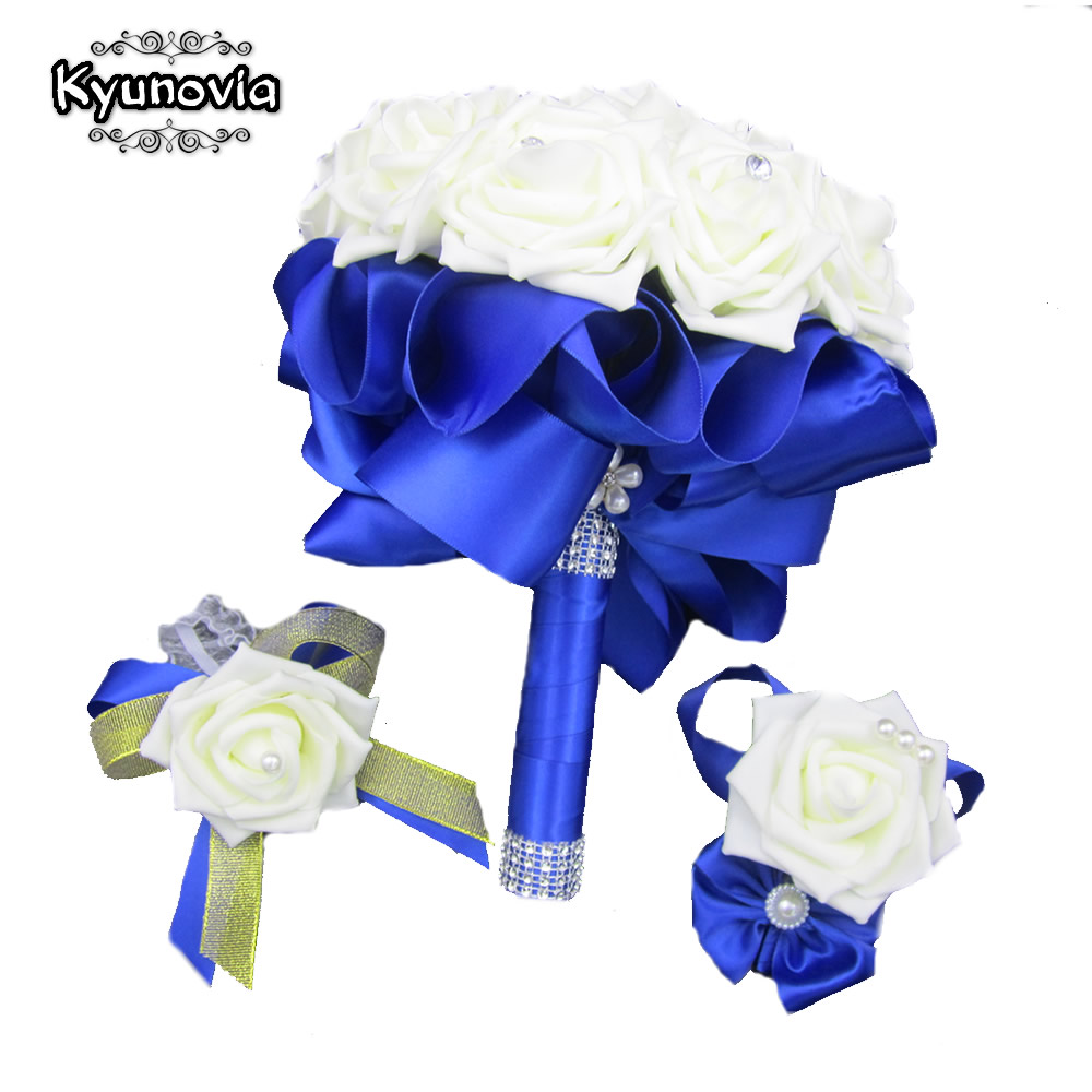 Kyunovia 3pc Set Bouquet Wrist Corsage and Boutonniere Blue buque de noiva Artificial Rose Wedding Bridal Bridesmaid Flowers FE4