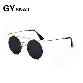 bbdef1431e GYsnail 2018 vintage Steampunk gafas de sol redondas de hombres, diseñador  de marca, retro gafas de sol para mujeres mujer montura de gafas uv400