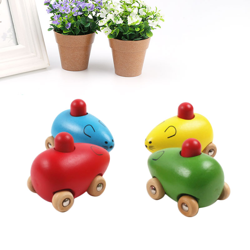 Wooden Car Mouse Rattle Cute Animals BB Sound Baby Developmental Recognition