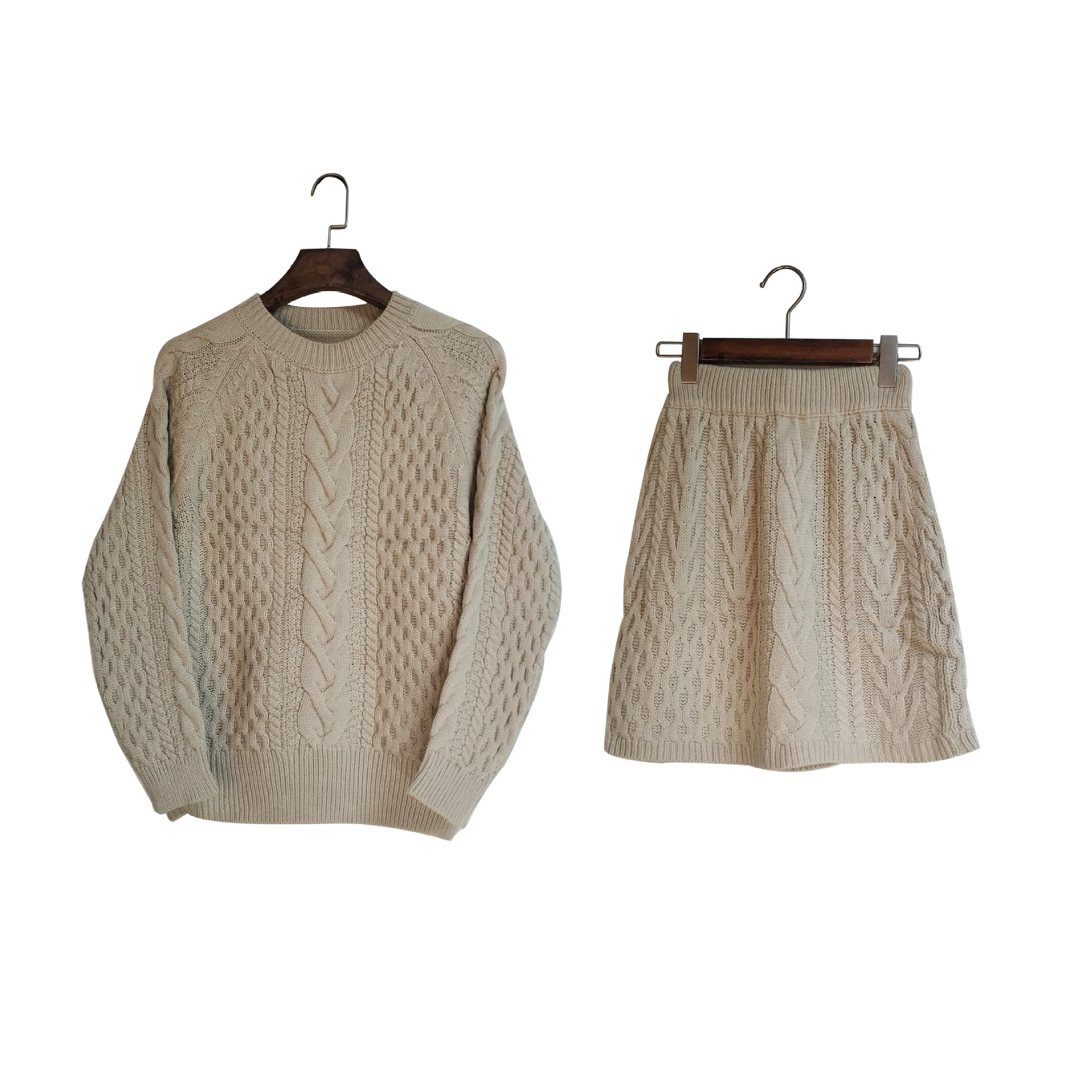 Poncho offre spéciale coton 2018 nouveau femmes tricot costume col rond décontracté à manches longues lâche pull + jupe deux pièces femme - 5