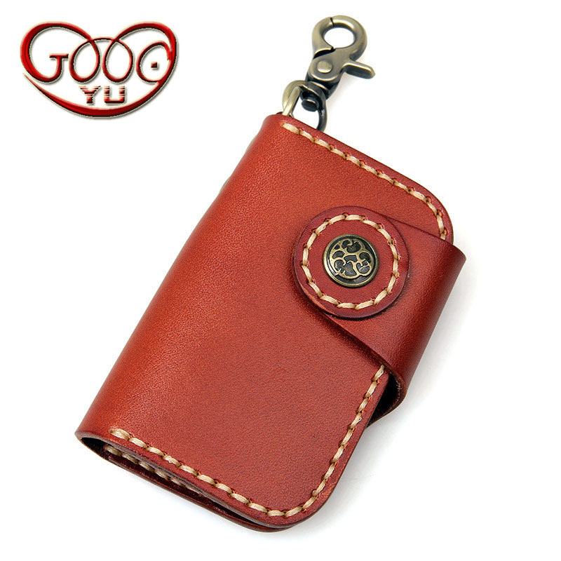 Short Paragraph First Layer Of Leather Upscale Vertical Square Key Bag Key Wallets