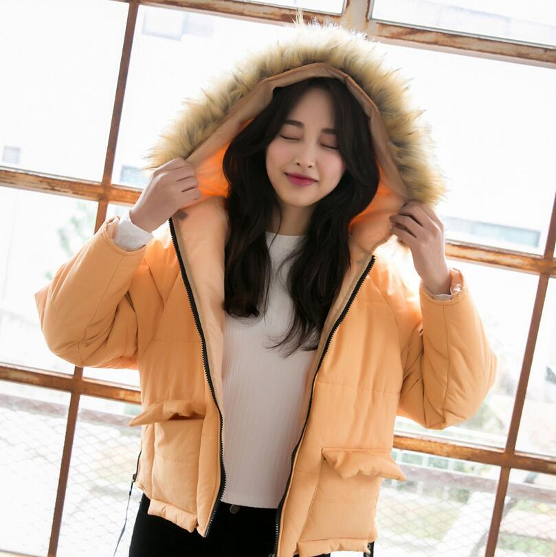 Hooded Fur collar Cotton clothing coat Women casual padded outerwear parkas 2017 Autumn winter warm parka overcoat female w581 autumn winter parkas jacket women coats female outerwear casual long down cotton slim warm hooded padded fur collar woolen coat