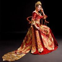 High Quality Women Phoenix Embroidery Cheongsam Long Qipao Wedding Dresses Traditional Chinese Dress China Clothing Store