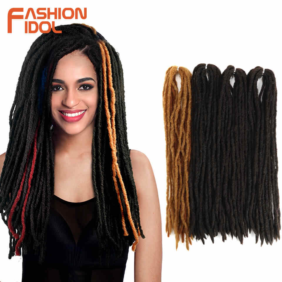 FASHION IDOL Afro Dreadlocks Braid Hair Extension Brown Ombre Crochet Braids 80 Strands 20 inch Reggae Synthetic Hair For Women