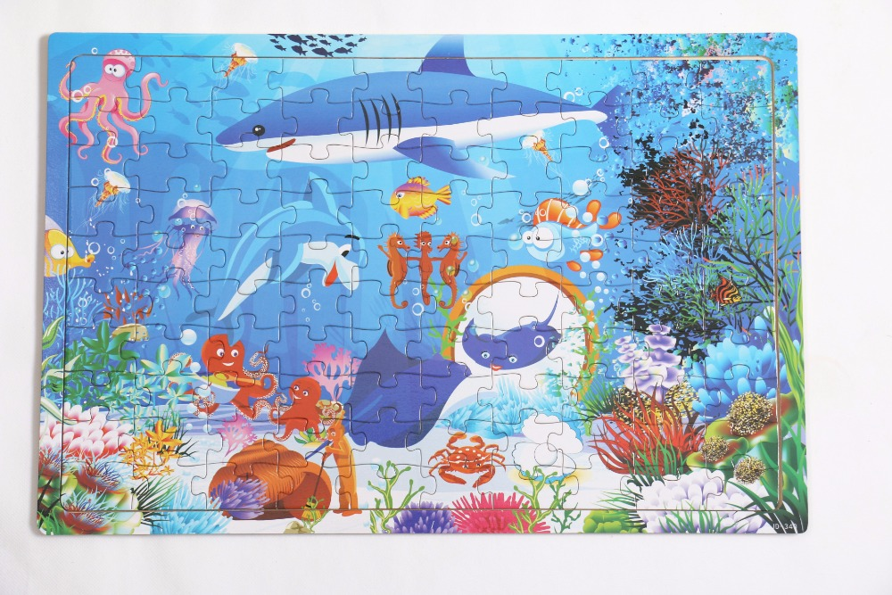 Montessori Wooden Early learning educational Sea Animal Shark Puzzle Cartoon Toys Wood Tangram Jigsaw Board for Children W285
