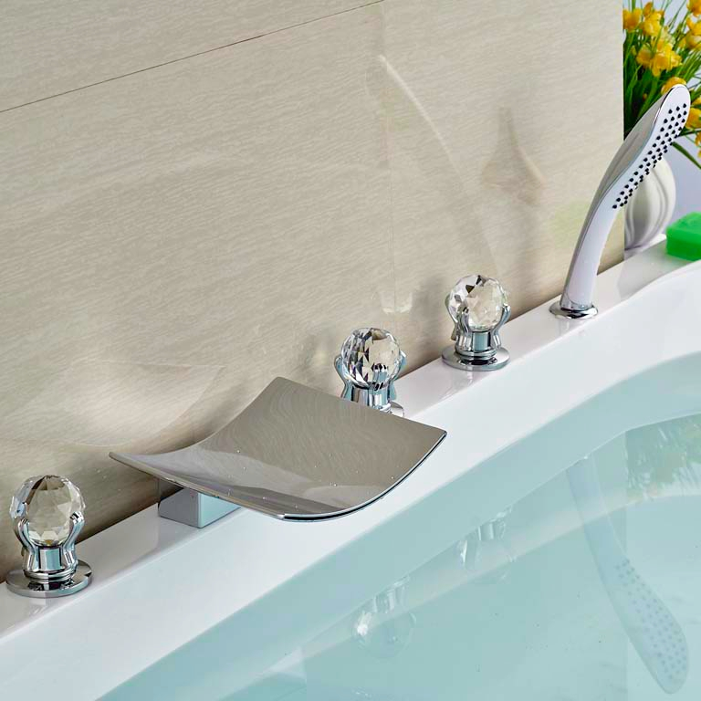 5pcs Brass Chorme Finish Tub Faucet Bathroom Faucet Three Crystal Handles Deck Mounted With Handheld цена