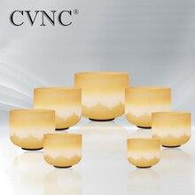 CVNC 6-12 Inch 7 Chakra Lotus  Gold Color Quartz Crystal Singing Bowl CDEFGAB Set
