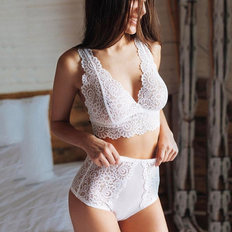 Women Sexy Lace Bra Suit Yarn Perspective Black White Wire Free Unlined Tanks Bra Girls Big Size Two Piece Set Lingerie Suit