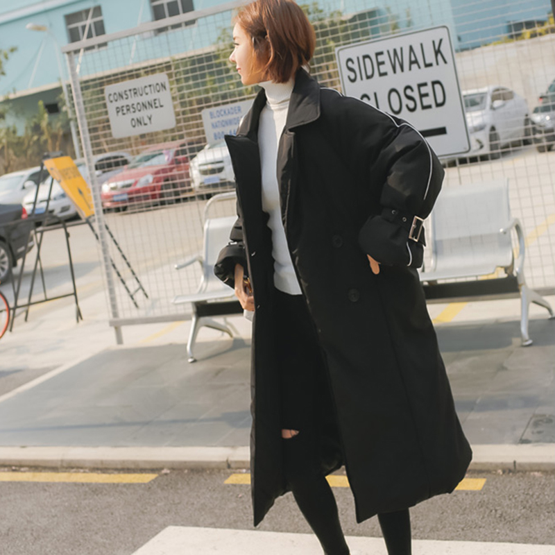 Coton Nouveau Veste 2018 Femmes Moyen Col Tempérament Black Xy077 Lâche Femelle Marée Coréen Genou Manteau Long Debout Hiver wUqE00OW