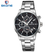SKONE Chronograph Men Watches Complete Calendar Display Stainless Steel Band Relogio Masculino Black Dial Mens Wristwatches