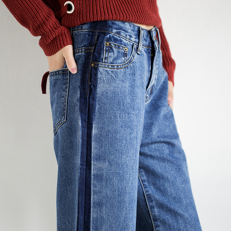Idopy Fashion Women Vintage Washed Denim Wide Leg Pants Female Side Stripe Legging High Waist Jeans Bell Bottom Jeans For Women 5