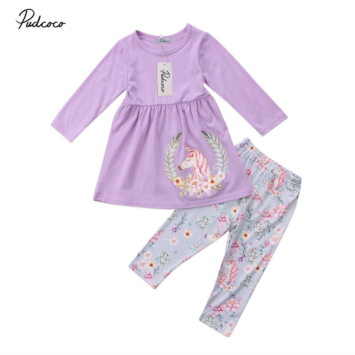 89814bd1b53 2018 для маленьких Обувь для девочек Единорог Блузка Платье Длинные штаны  Костюмы комплект для маленьких девочек