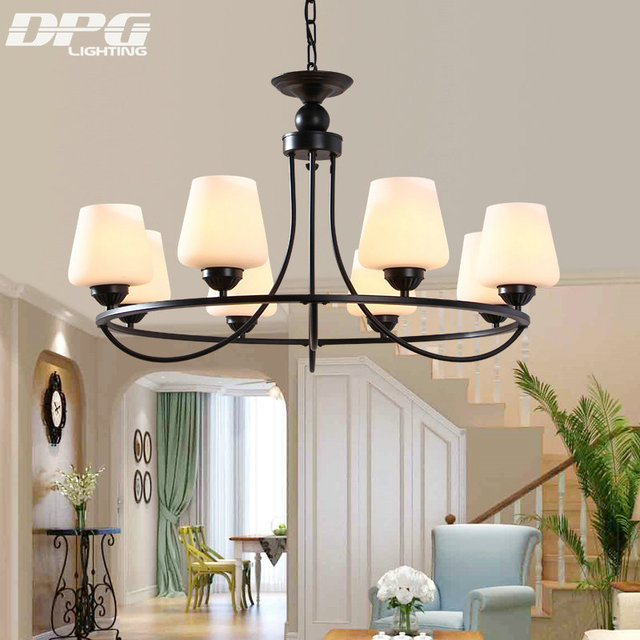 Wrought Iron Chandelier 4 6 8 Lights Black Color Frosted Gl Light Shade Curved Support