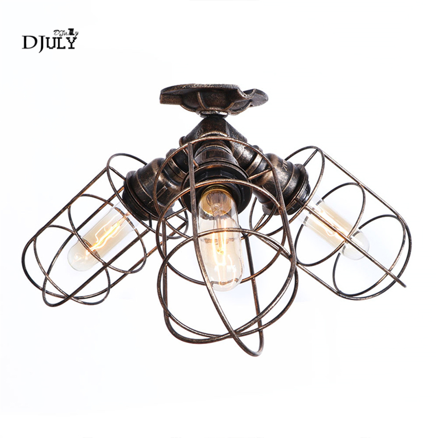 American vintage Iron Water Pipe Ceiling Lights for Bar Living Room Cafe Dining Room Light Industrial Decoration ceiling LampAmerican vintage Iron Water Pipe Ceiling Lights for Bar Living Room Cafe Dining Room Light Industrial Decoration ceiling Lamp