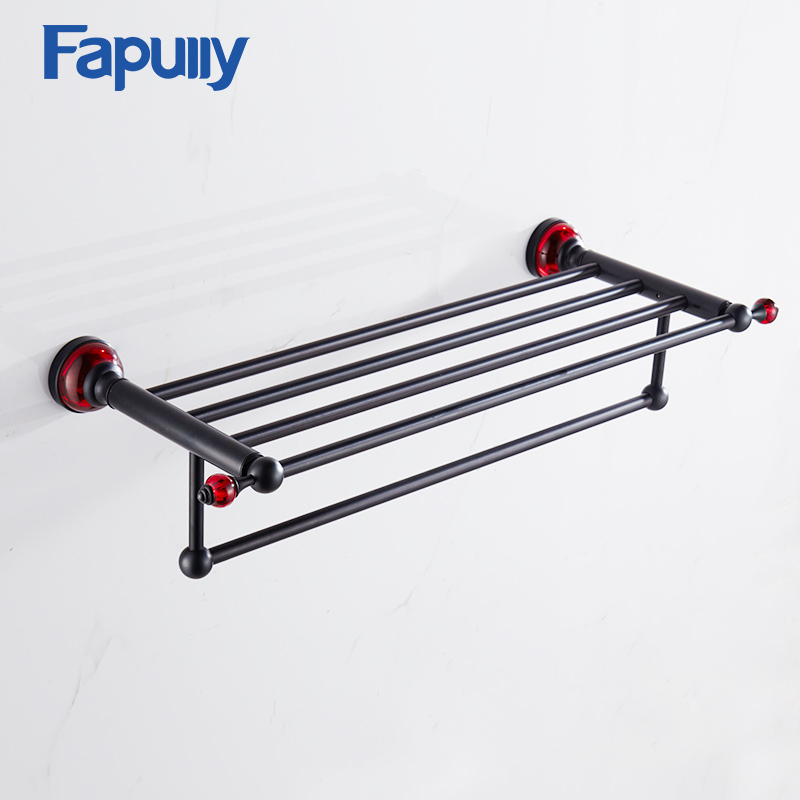 Fapully Towel Rack Shelf with Bar Wall Mounted Space Aluminum Black Double Towel Rack Bathroom Accessories black space aluminum wall mounted foldable bathroom towel rack holders shower towel rack shelf bar with hooks