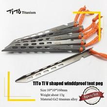 ティト 6 個titaniumテントペグvシェイプtitaniumスパイク防風屋外キャンプtitaniumテントネイルアクセサリーtitaniumテントステーク
