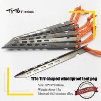 TiTo 6pcs 티타늄 텐트 페그 V 모양 티타늄 스파이크 Windproof 야외 캠핑 티타늄 텐트 네일 액세서리 티타늄 텐트 스테이크