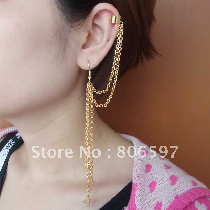WHHEC083,New design,fashion golden clip earrings,cross charm ear ...