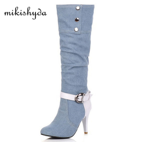 Plus Size Women Denim Boots Thin High Heel Knee High Boots Pointed Toe Botas Winter Warm Jean Knight Gladiator Combat Boot 2017 mens winter stretch thicken jeans warm fleece high quality denim biker jean pants brand thick trousers for man size 28 40