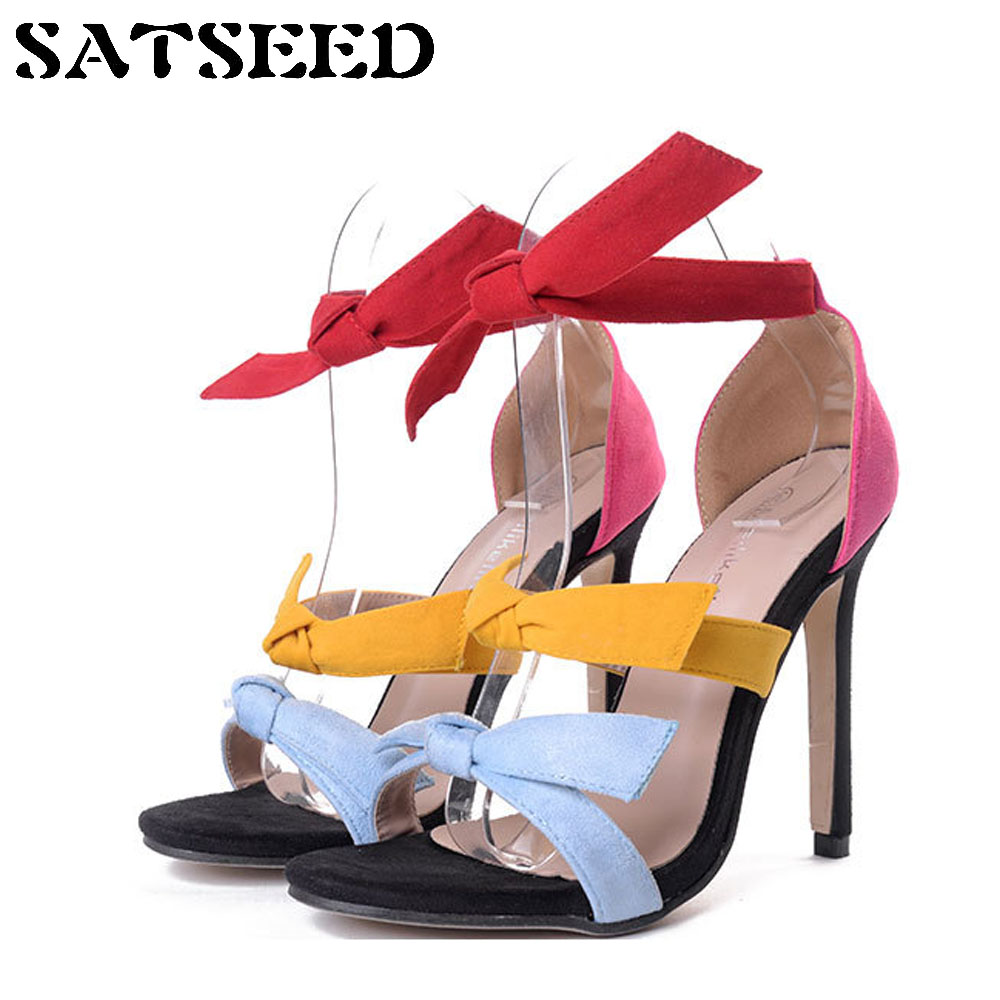 2018 Summer Sandals Candy Colors Fashion Sexy High Heels Sandals Extreme High Heels Peep Toe Superstar Shoes Muti Colors Bow New new 2018 fashion peep toe high heels