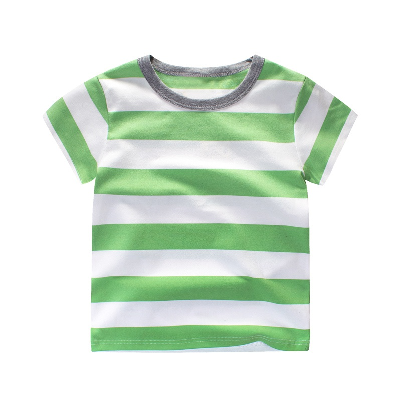 2017 Summer Kids Boy Girl Green T shirt Cotton Striped T shirts Children  Short Sleeve Tee shirt Baby Boys Casual Tops Clothes j2-in T-Shirts from  Mother ... d9753ea7d