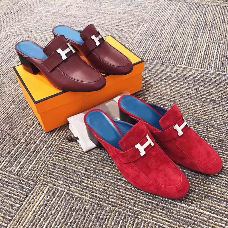 bb617976f4 Kmeioo 2019 zapatos de Venta caliente para mujer mulas de punta redonda con  tacones de Mula para mujer Zapatillas de cuero genuino
