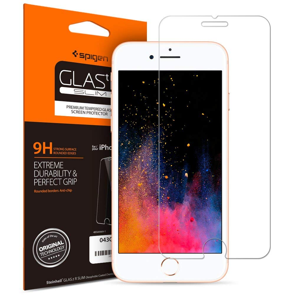 100% Original SPIGEN Glas.tR Slim Tempered Glass Screen Protector for iPhone 8 / iPhone 7 (4.7