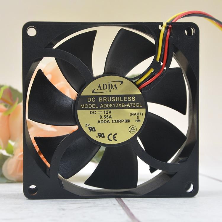 ADDA AD0812XB-A73GL DC 12V 0.55A 8025 8CM 80mm Chassis Server Inverter Case Computer Pc Cooling Fan