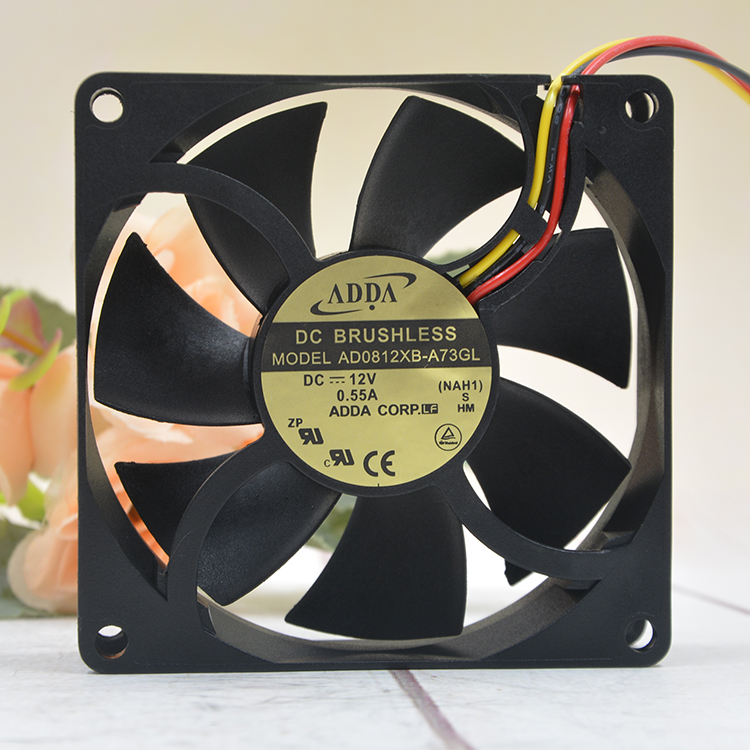 ADDA AD0812XB-A73GL DC 12V 0.55A 8025 8CM <font><b>80mm</b></font> chassis server inverter case computer pc cooling <font><b>fan</b></font> image