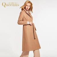 Queenus Autumn Winter Women Overcoat Turn Down Collar Long Length Full Sleeve Fashion Casual Coats Camel