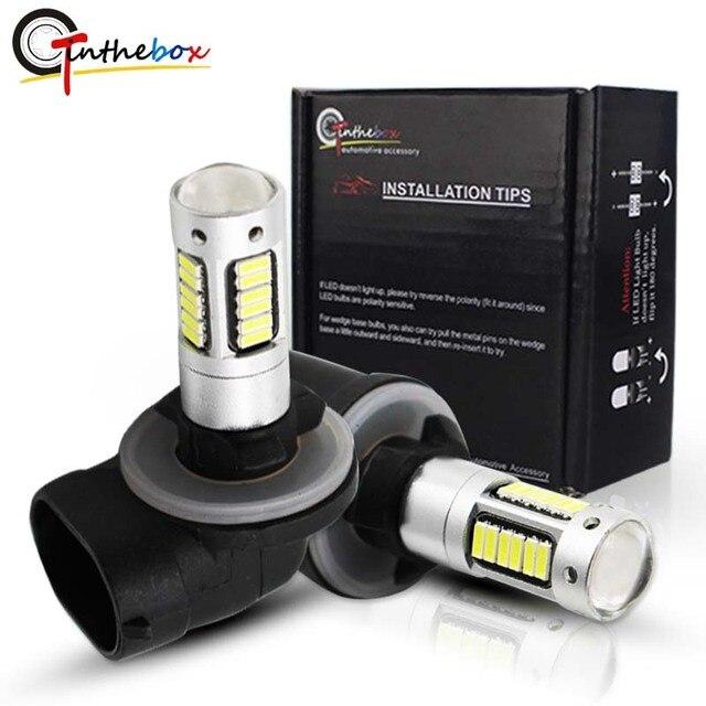 Gtinthebox lâmpada para farol automotivo, h27, led, 880 ou 881, para substituição, para farol de milha, branco, vermelho e azul gelo azul amarelo amarelo