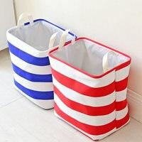 Stripe Blue Design Large Storage Box Cotton Linen Desktop Storage Organizer Sundries Cabinet Underwear Folding Storage Basket