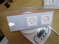 Livolo EU Standard Israel Power Socket White Crystal Glass Panel AC 100 250V 16A Wall Touch