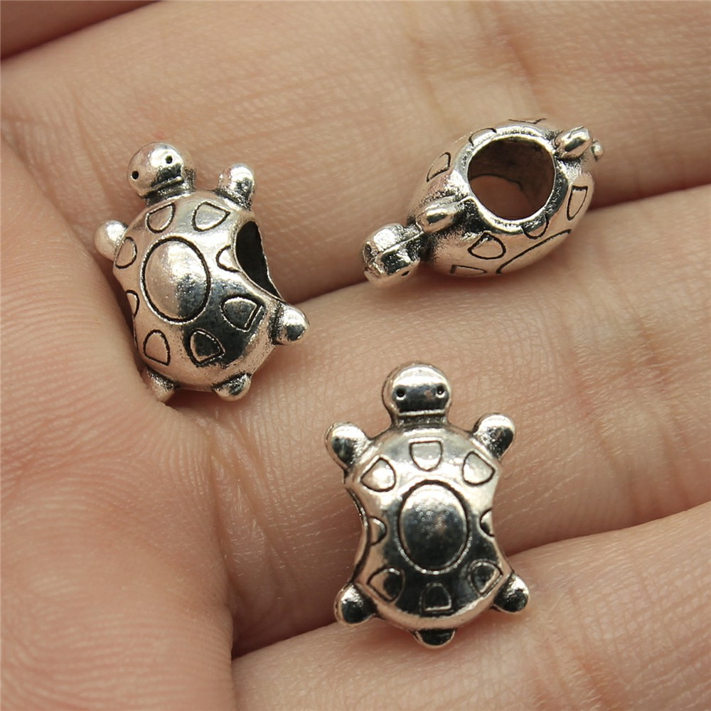 WYSIWYG 10pcs 14*9*7mm Hole Size 4mm Turtle European Big hole beads Pendants Charms Jewellery Making Findings for DIY Craft
