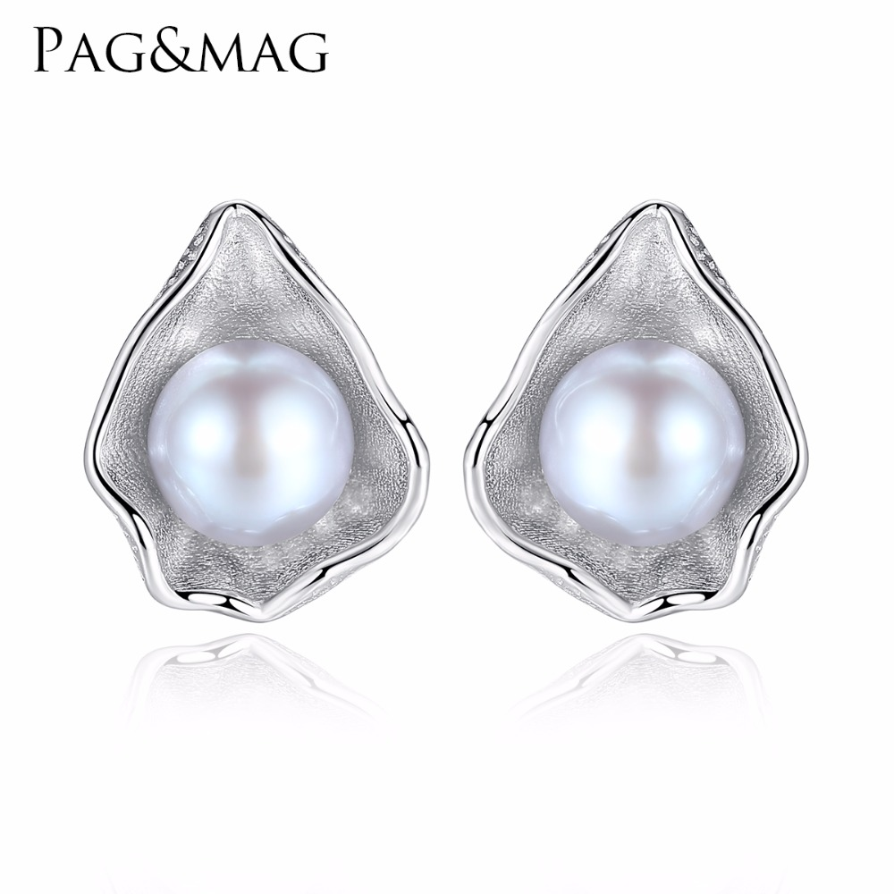 PAG&MAG Charm Shell Design Pearl Jewelry 925 Sterling Silver Jewelry Fashion Gray Pearl Stud Earrings For Women Gift