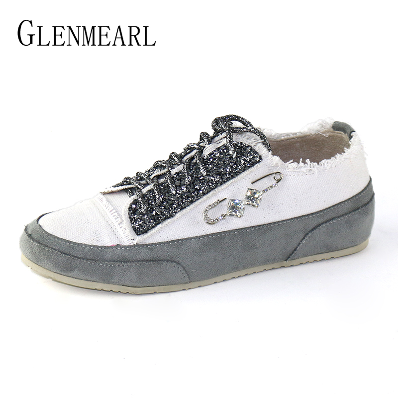 Women Flats Crystal Casual Shoes Brand Canvas Sneakers Ladies Shoe Round Toe Lace Up Loafers Autumn Fashion Party Shoes Female asumer white spring autumn women shoes round toe ladies genuine leather flats shoes casual sneakers single shoes