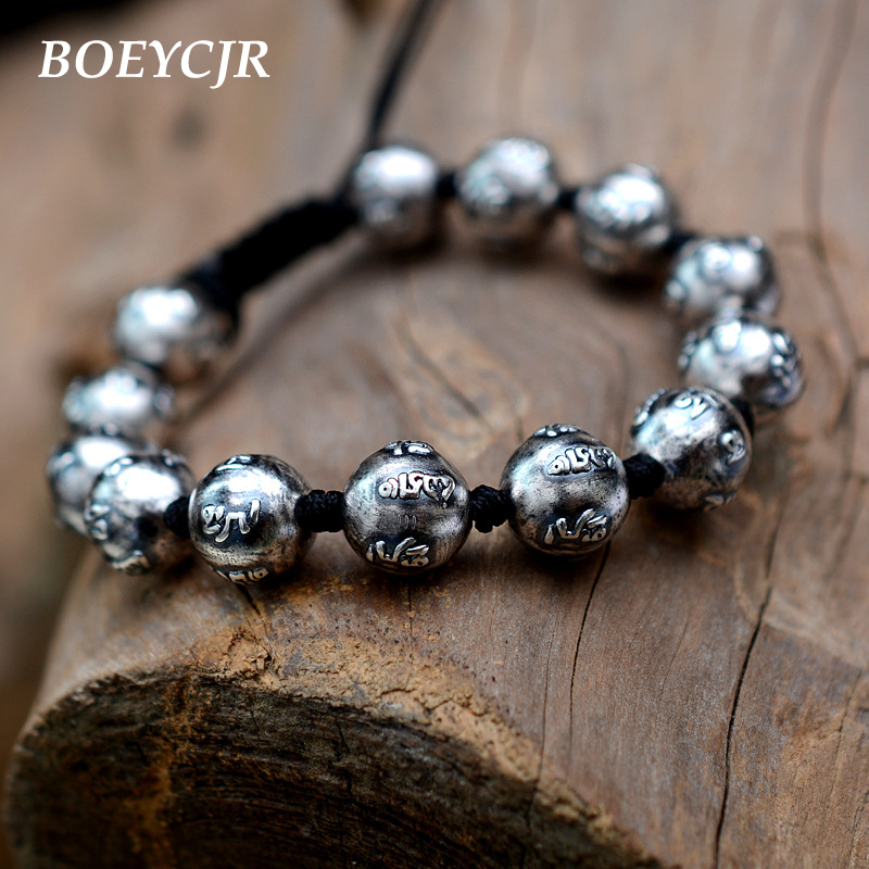 BOEYCJR 100% S999 Mantra argent perles perles Bracelets & Bracelets Vintage bijoux chanceux énergie bouddhiste Bracelet pour hommes ou femmes